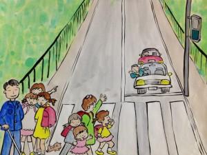 青信号の横断歩道、信号が変わったことを視覚障害者に 声で伝えている小学生