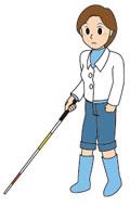 白杖を持って歩く女性のイラスト