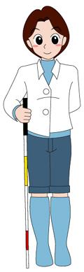 白杖を持った女性のイラスト